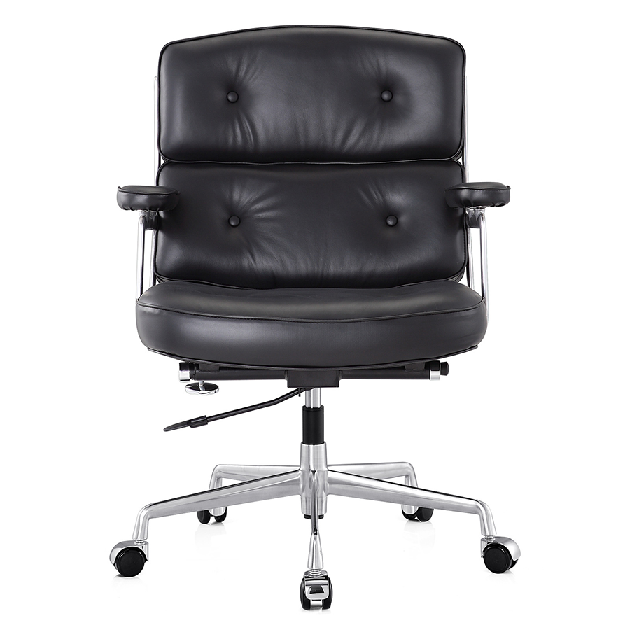 Maren Black Contemporary Leather Office Chair