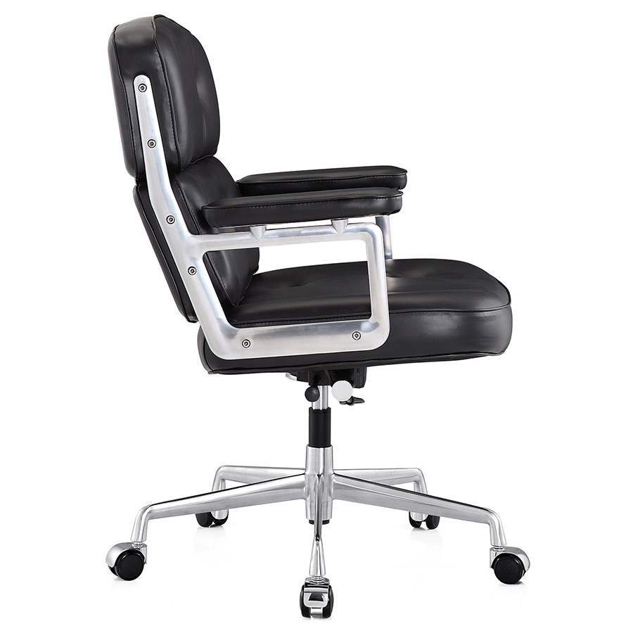 Maren Black Leather + Polished Metal Modern Office Chair