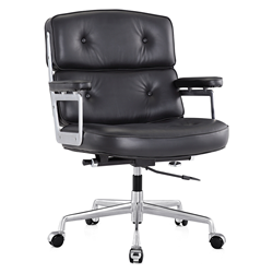 Maren Black Modern Leather Office Chair