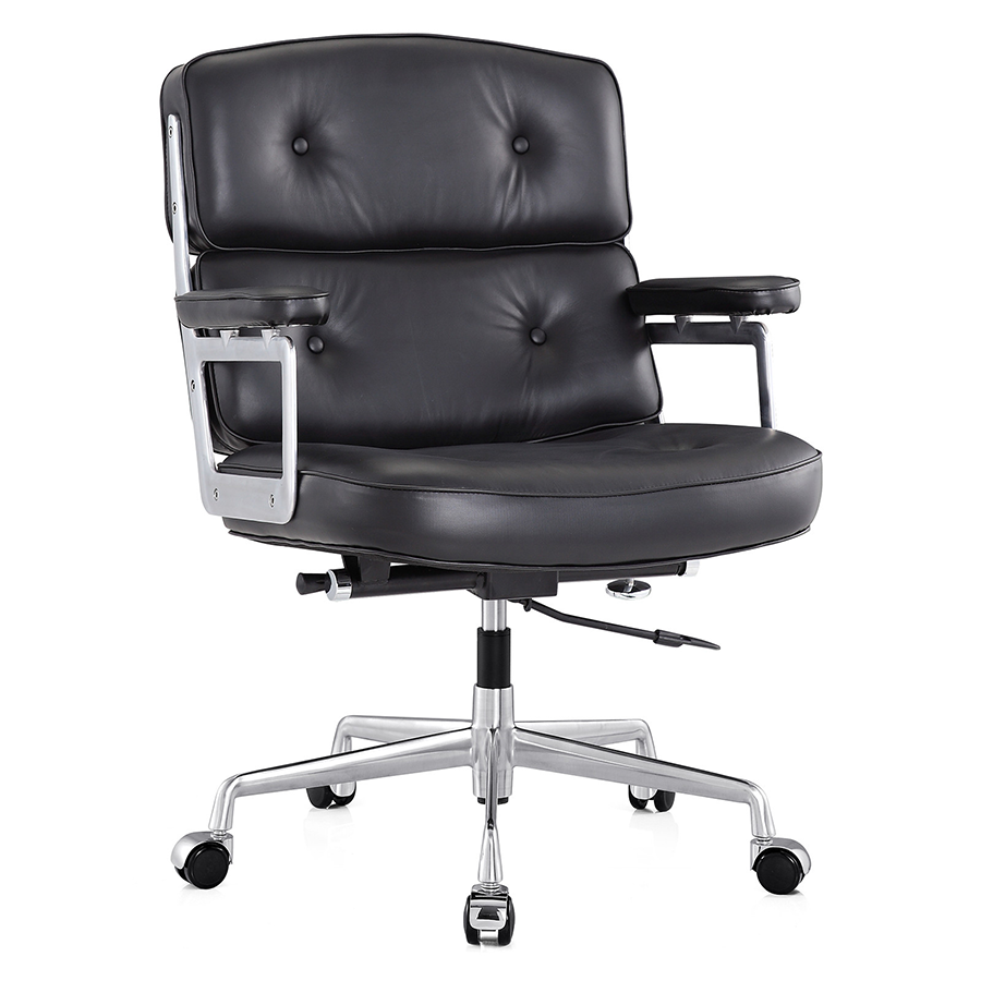Maren black leather modern office chair eurway for Modern leather office chairs