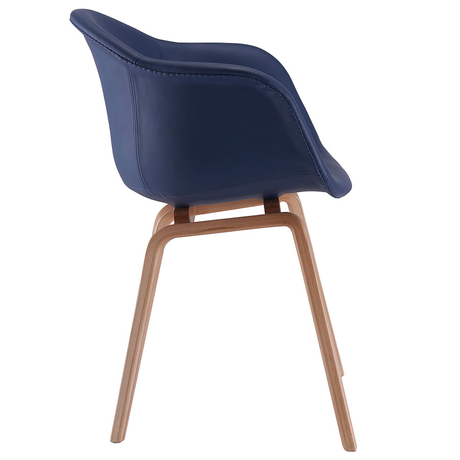 Marfa Blue Vegan Leather Contemporary Arm Chair