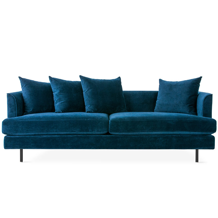 Margot Modern Sofa in Velvet Midnight and Black Legs