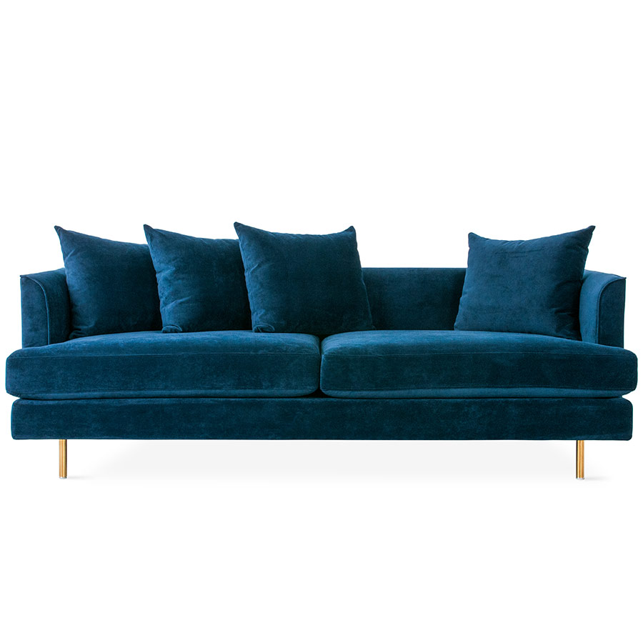 Margot Modern Sofa in Velvet Midnight and Brass Legs