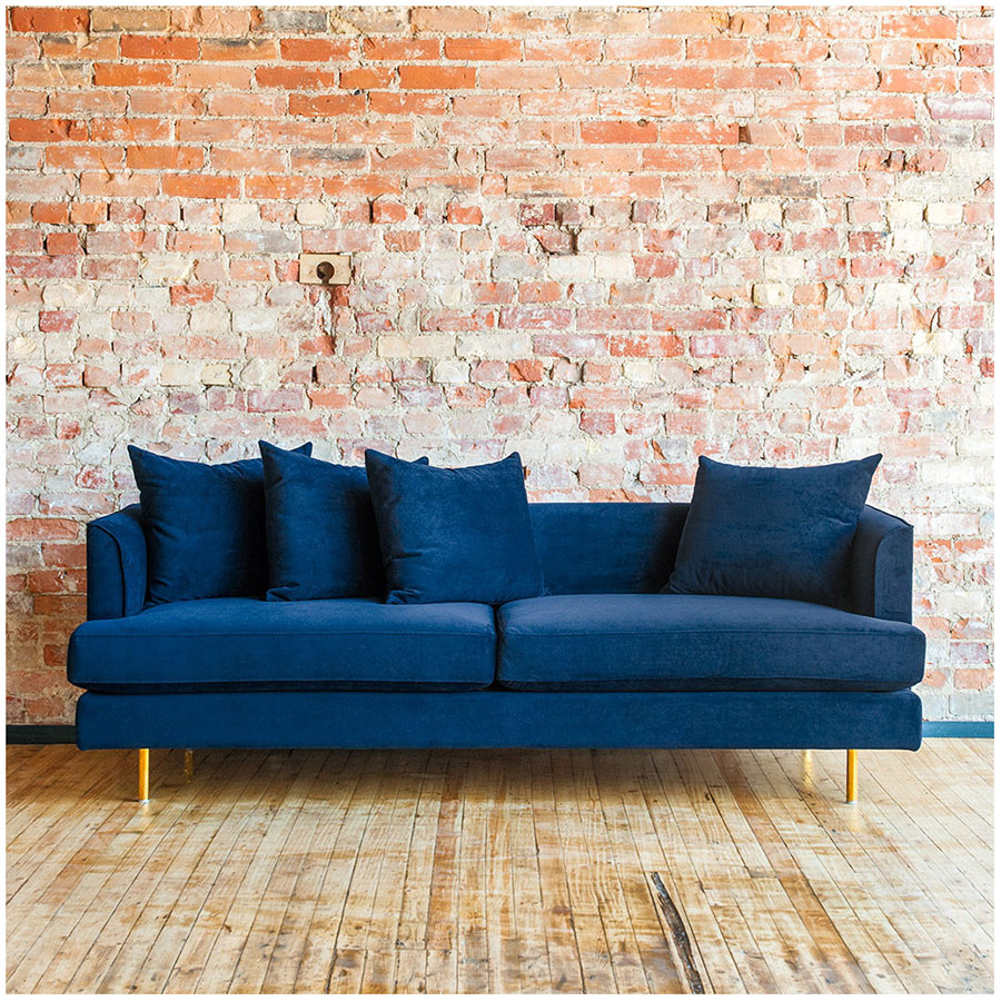 Margot Contemporary Sofa in Velvet Midnight