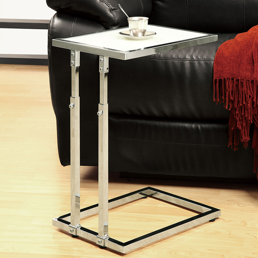 Maria Adjustable Contemporary Chrome Accent Table