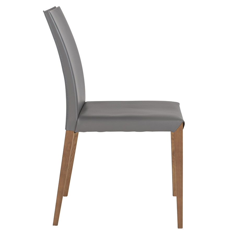 Maricella Anthracite + Walnut Modern Dining Chair