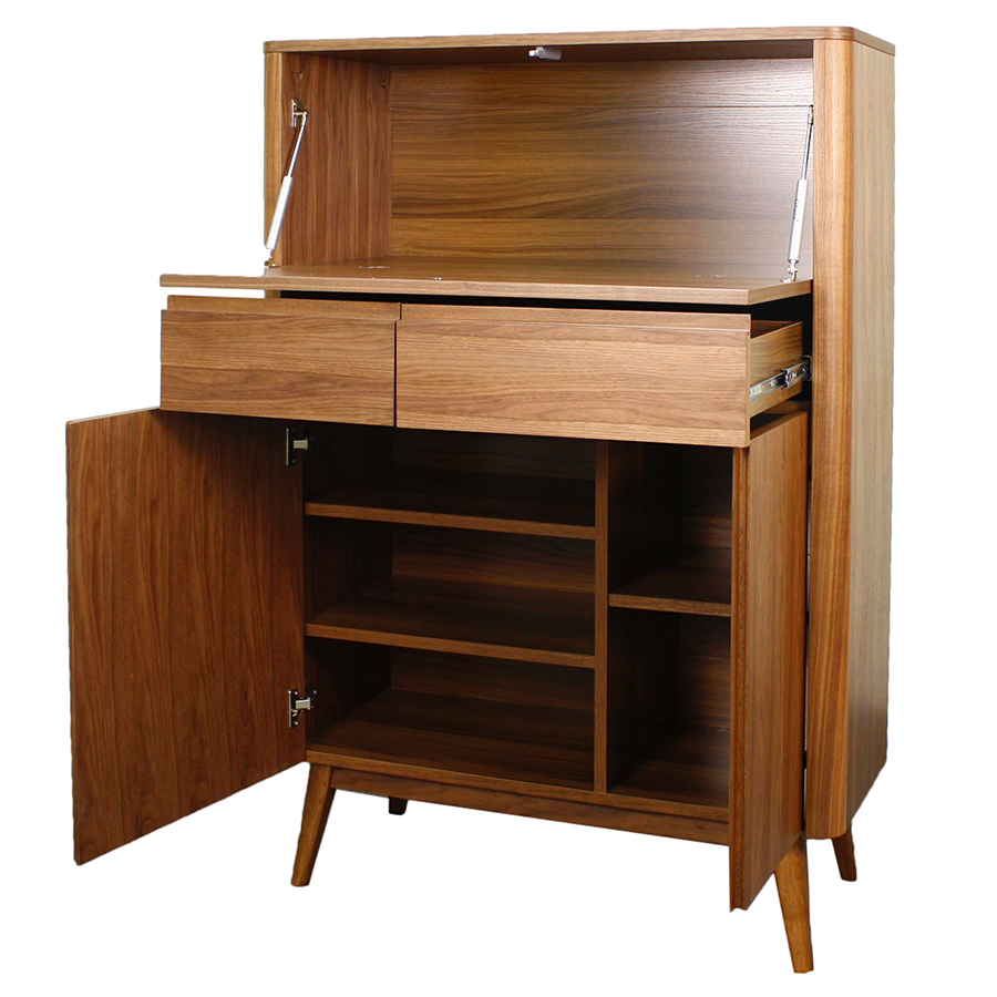 Marika Walnut Modern Bar Cabinet