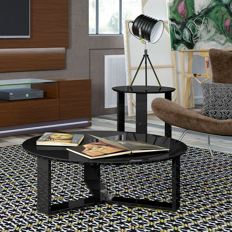 Markel Modern Black End Table and Coffee Table