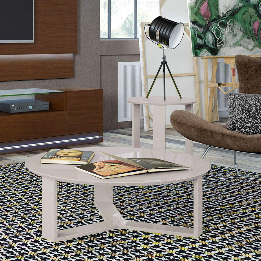 Markel Modern Off White End Table and Coffee Table