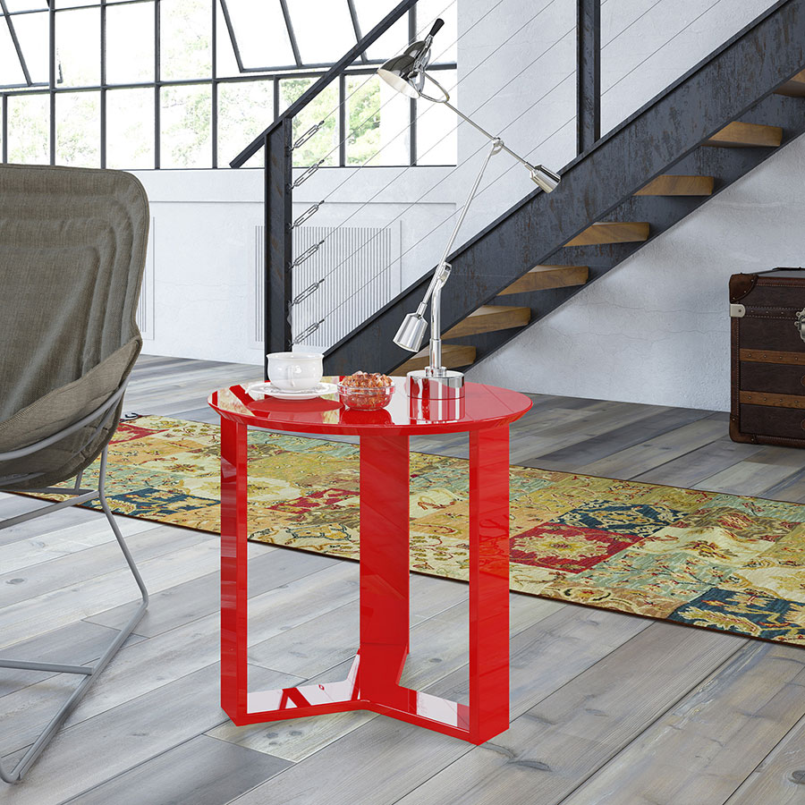 Markel Modern Red Cocktail Table & End Table