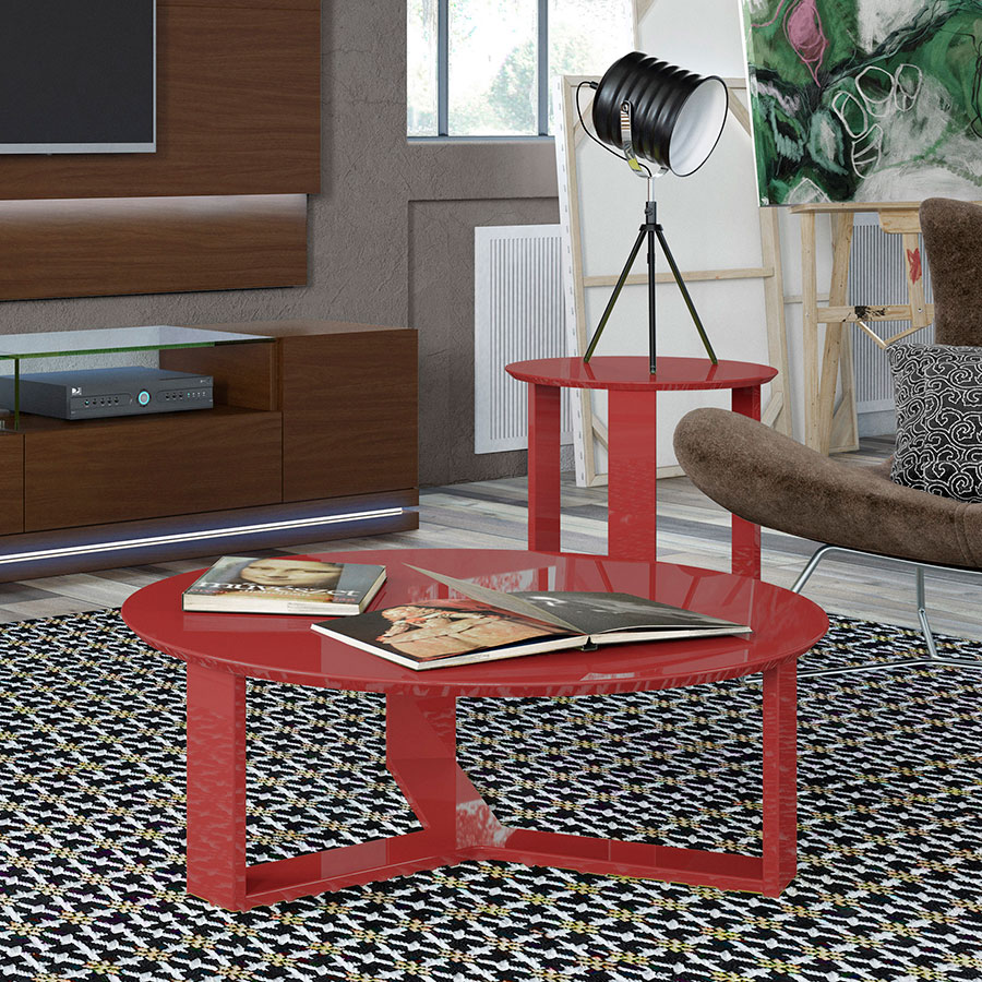 Markel Modern Red End Table and Coffee Table