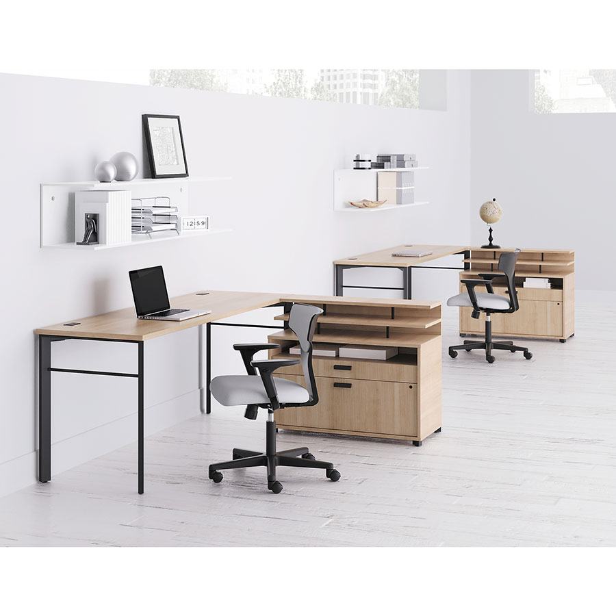 Marlin Modern Wheat-Colored Desk Workstations