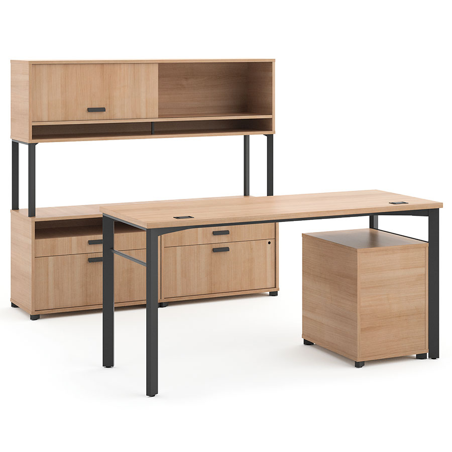 Marlin Modern Wheat-Colored Executive Desk Set