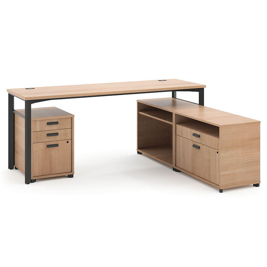 Marlin Modern Wheat-Colored Supervisor Desk Set