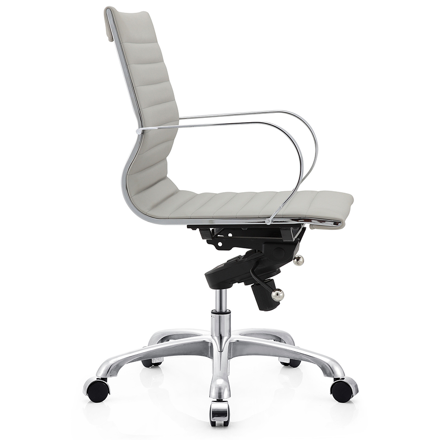 Marna Gray Leatherette + Polished Metal Modern Office Chair
