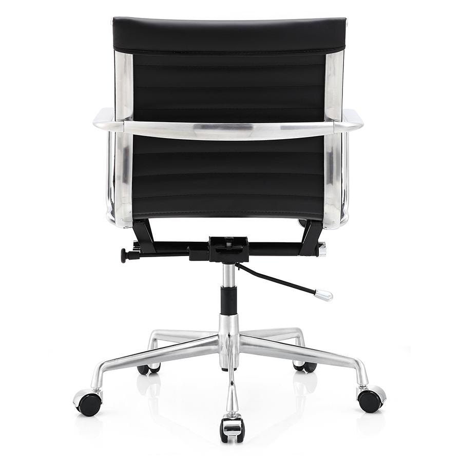 Marquis Black Leather + Polished Metal Modern Office Chair