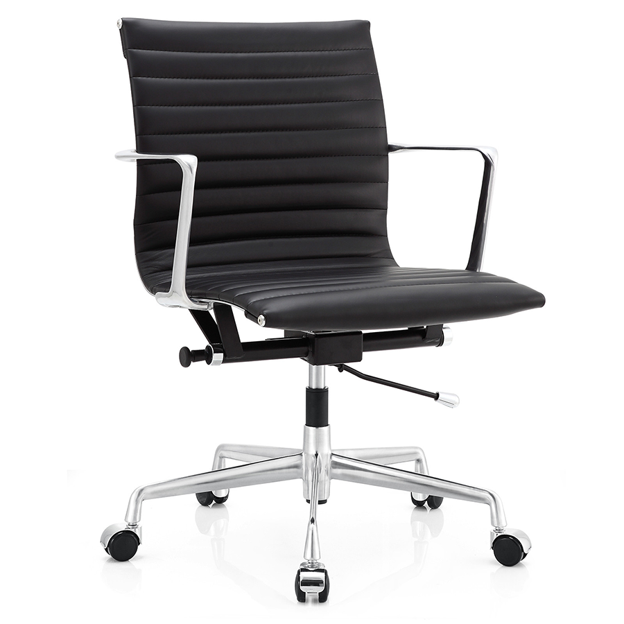 Modern leather office chair - Marquis Black Leather Modern Office Chair Eurway