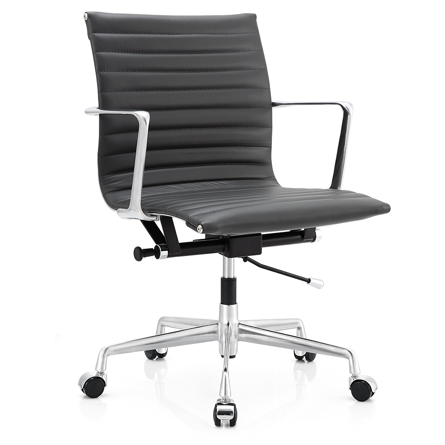 Marquis Dark Gray Leather Modern Office Chair