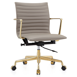 Marquis Gray + Gold Modern Leather Office Chair