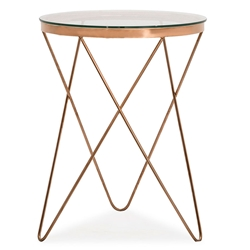 Masterson Rose Gold Metal + Glass Contemporary European Side Table