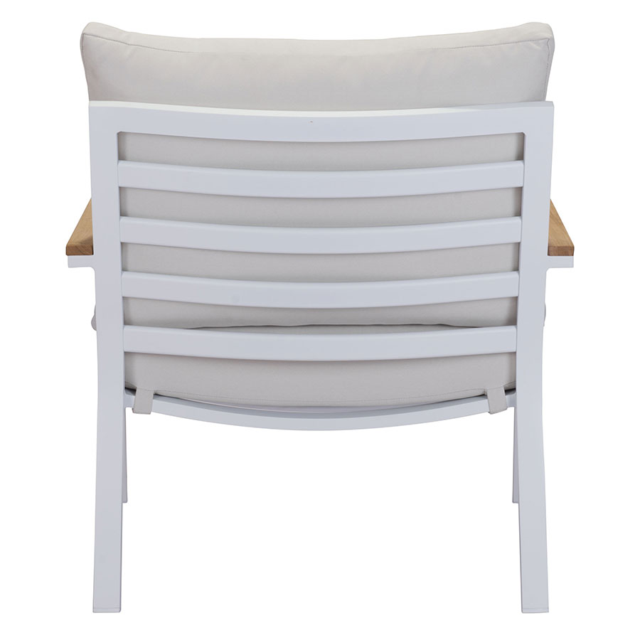 Matthew White + Gray + Teak Contemporary Outdoor Lounge Chair