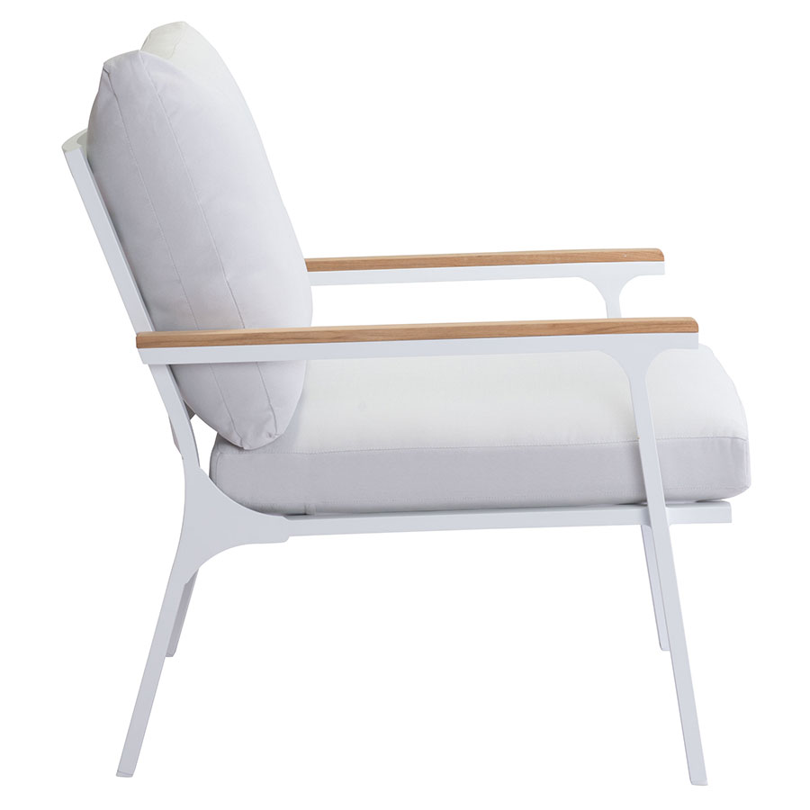 Matthew White + Gray + Teak Modern Outdoor Lounge Chair