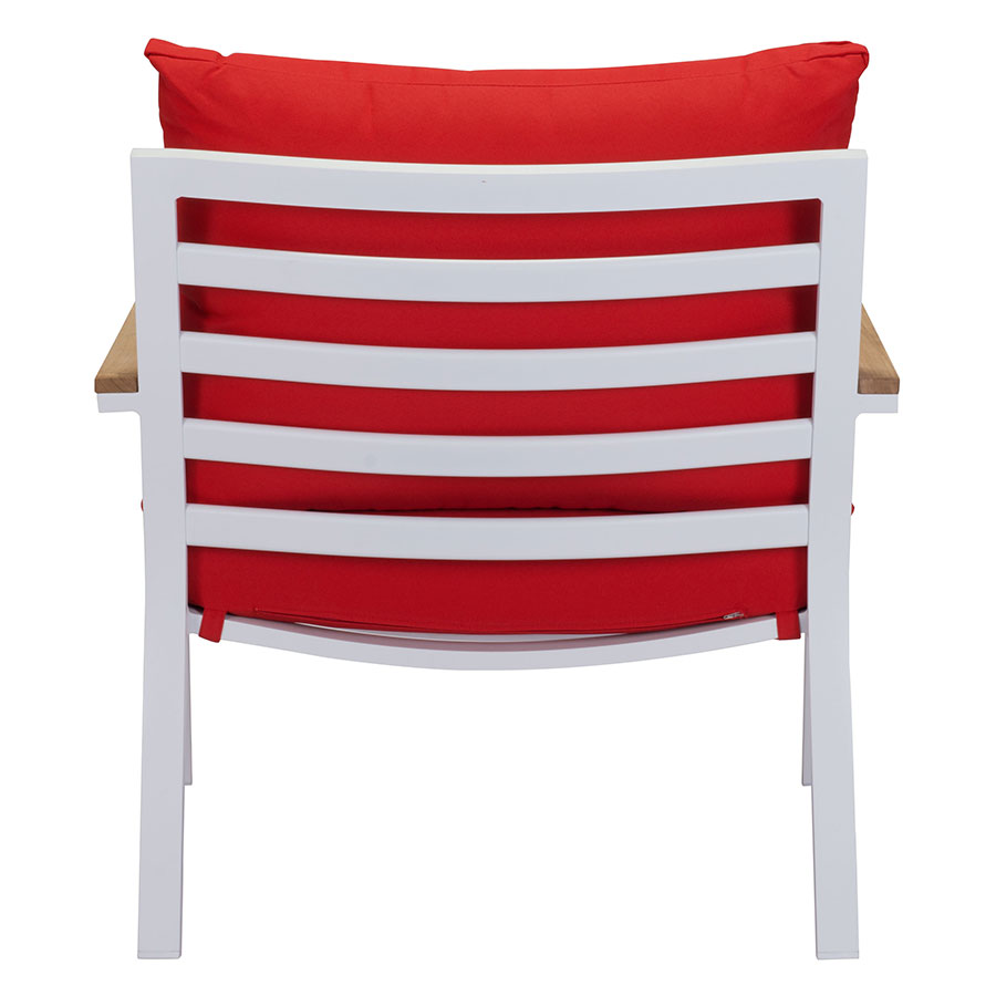 Matthew White + Red + Teak Contemporary Outdoor Lounge Chair