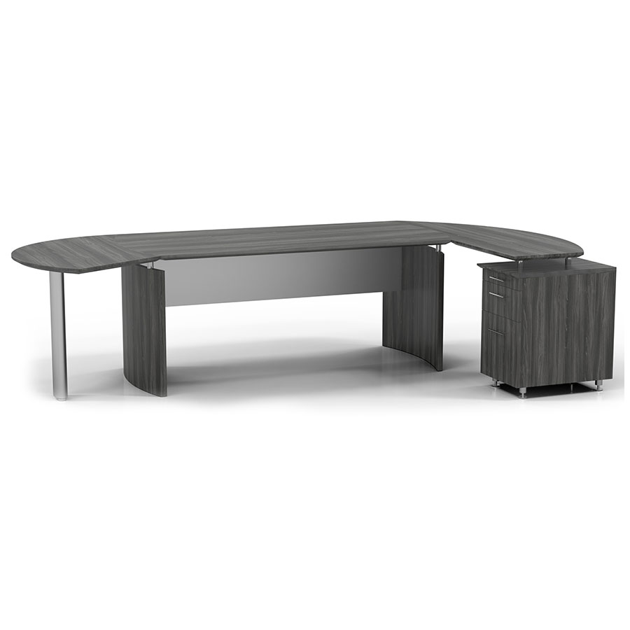 Maya Modern Curved Desk w/ Right Return + Left Extension