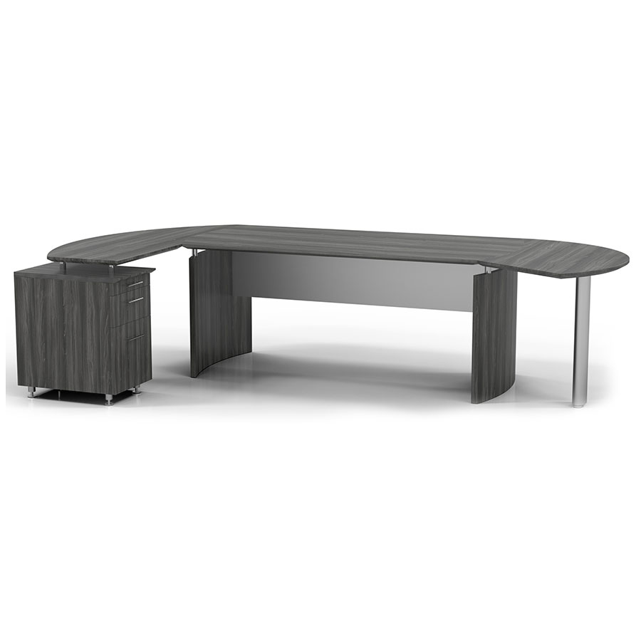 Maya Modern Curved Desk w/ Left Return + Right Extension