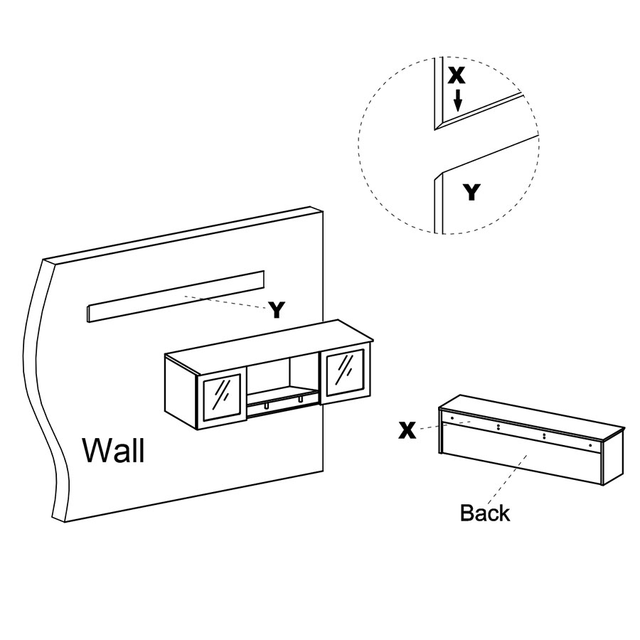 Maya Wall Mount Modern Hutch - Mounting Diagram