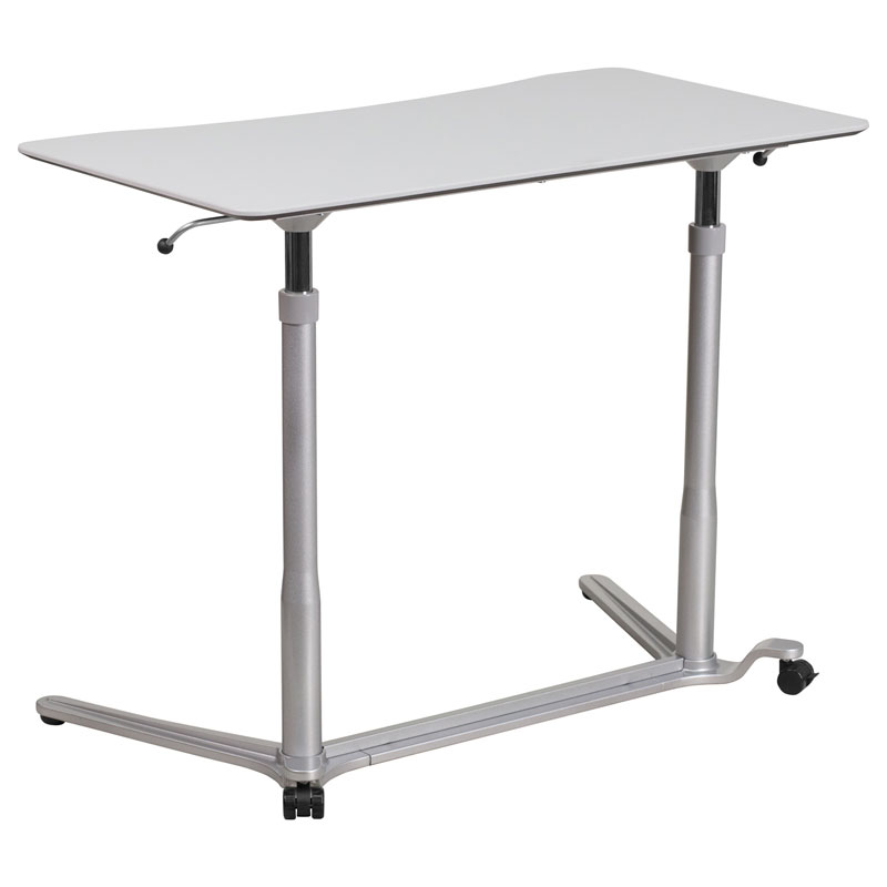 Medford Modern Lift Desk in Silver