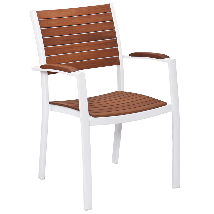 Medina Modern Outdoor Arm Chair in White