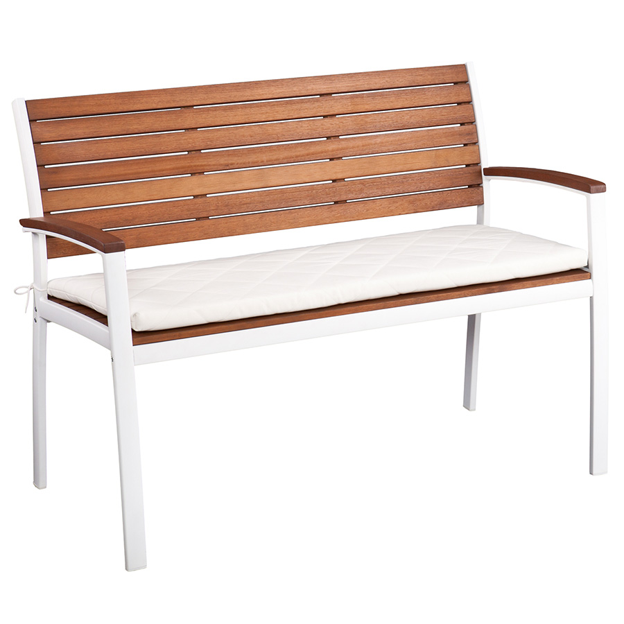Medina Modern White Outdoor Bench with Cushion