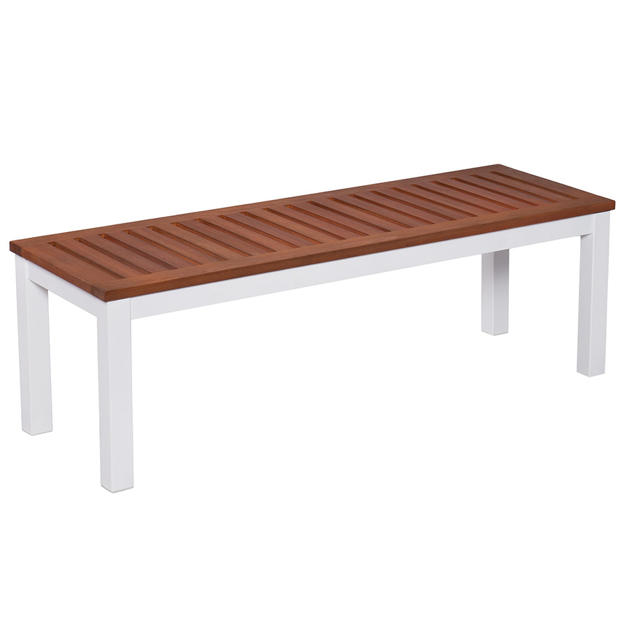 Medina Modern White Outdoor Dining Bench