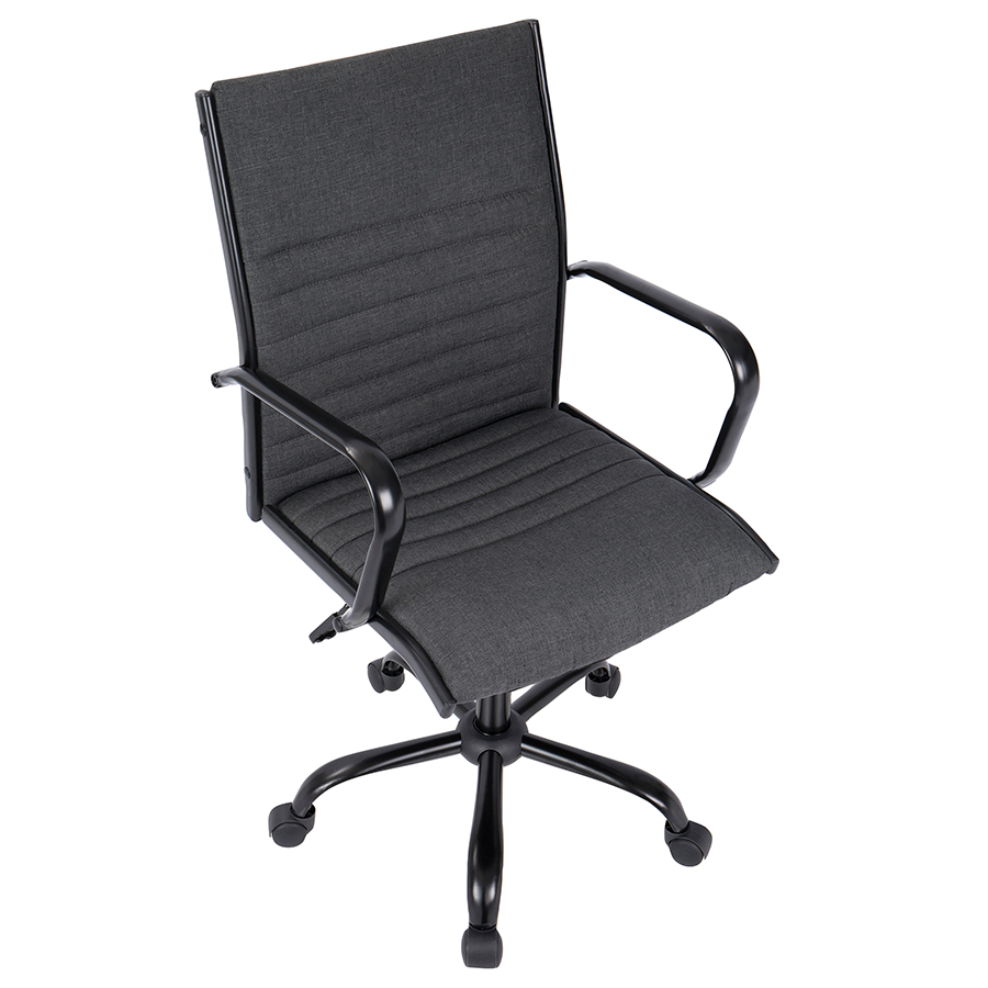 Mencken Charcoal Fabric + Black Metal Contemporary Office Chair