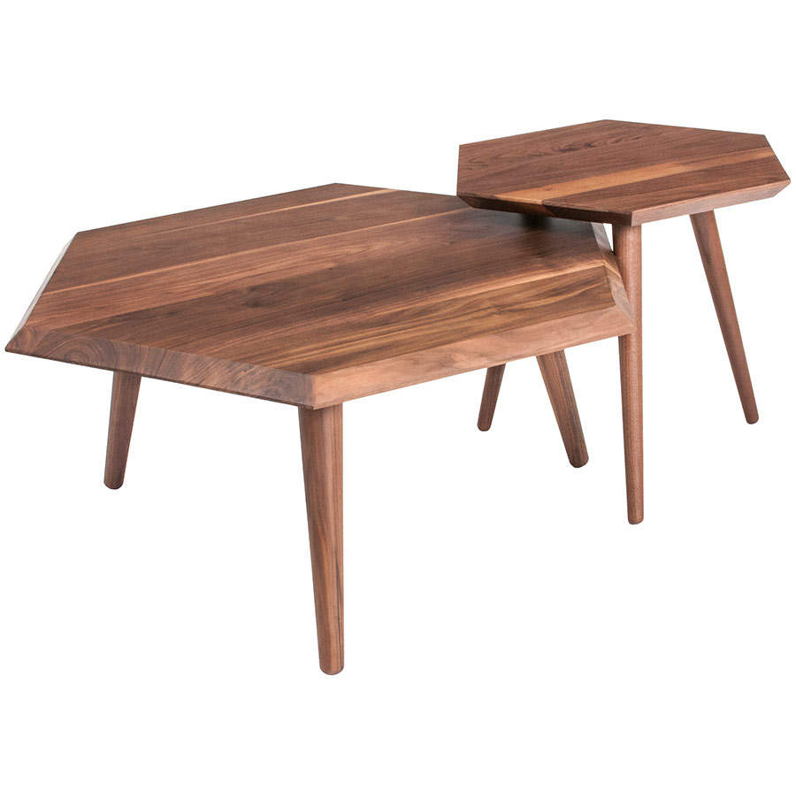 Metric Coffee and End Tables in Walnut by Gus Modern