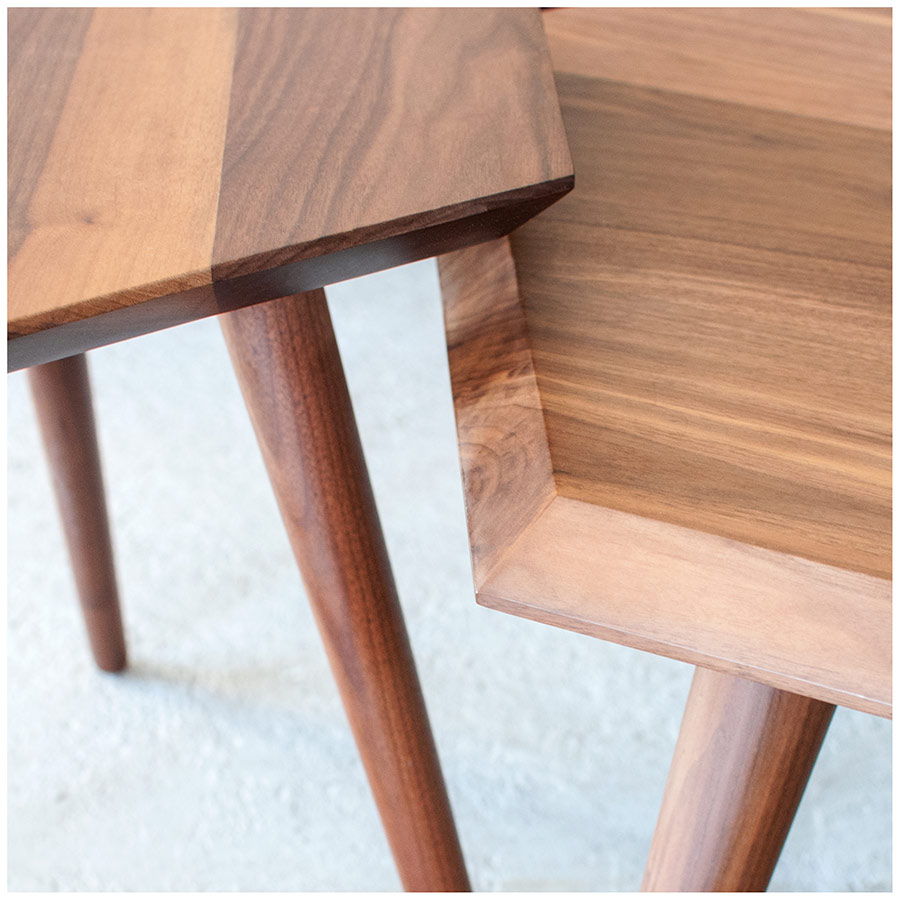 Metric Coffee Table and End Table Beveled Edges