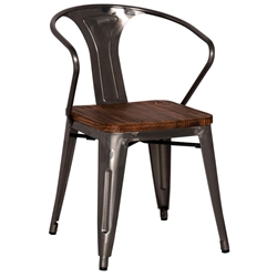 Metro Modern Gun Metal Cafe Arm Chair