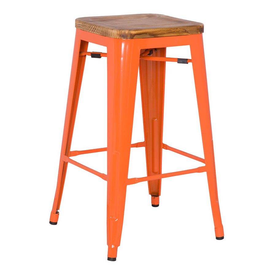 Metro Modern Backless Orange Bar Stool