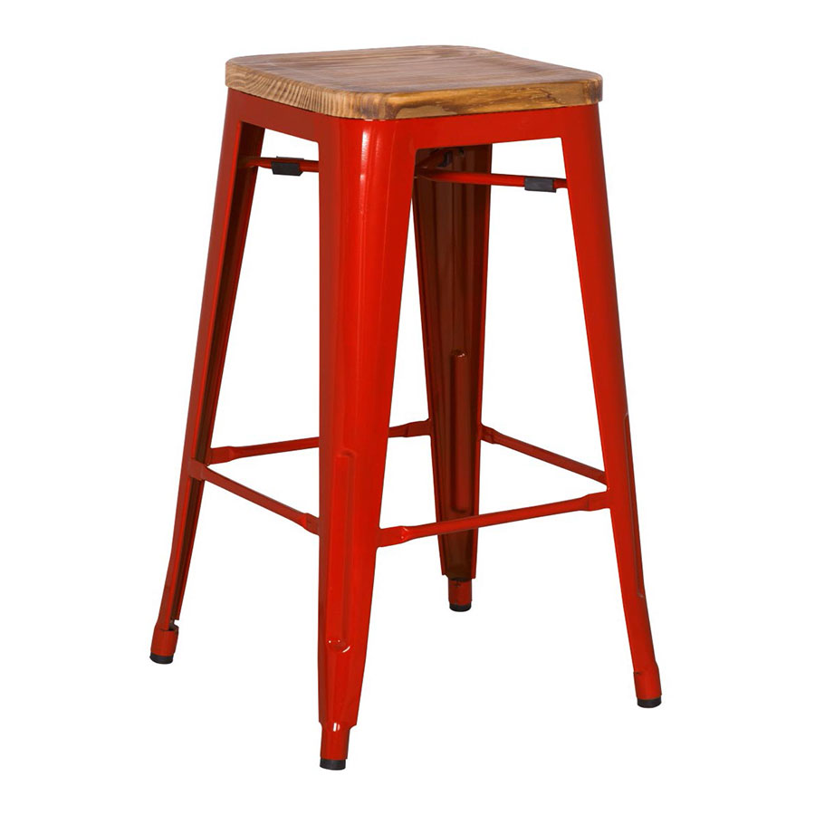 Metro Modern Backless Red Bar Stool