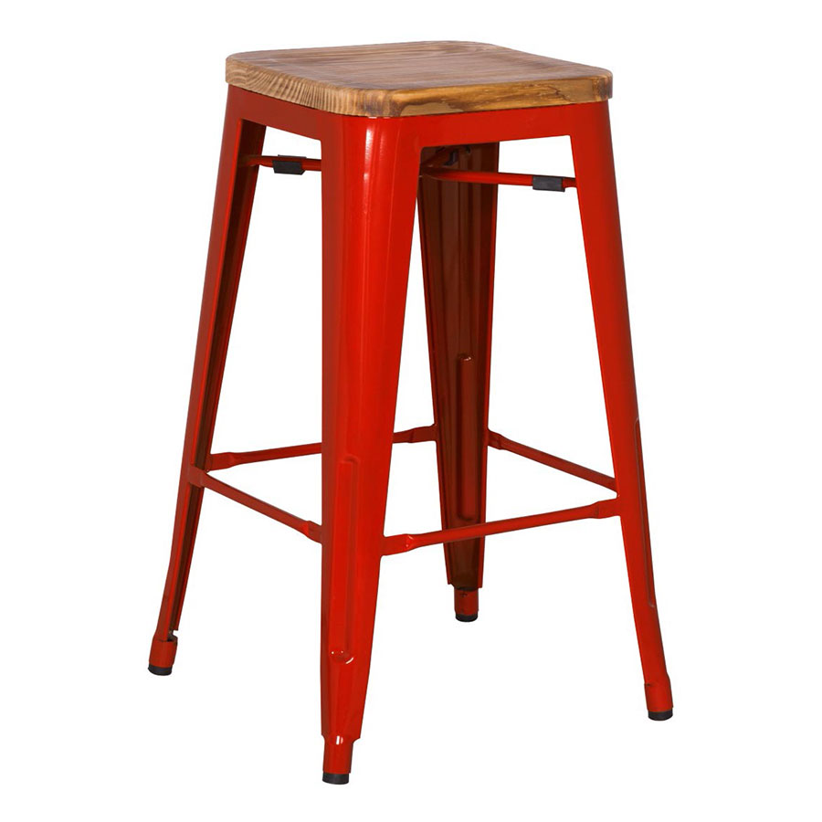 Metro Modern Backless Red Counter Stool
