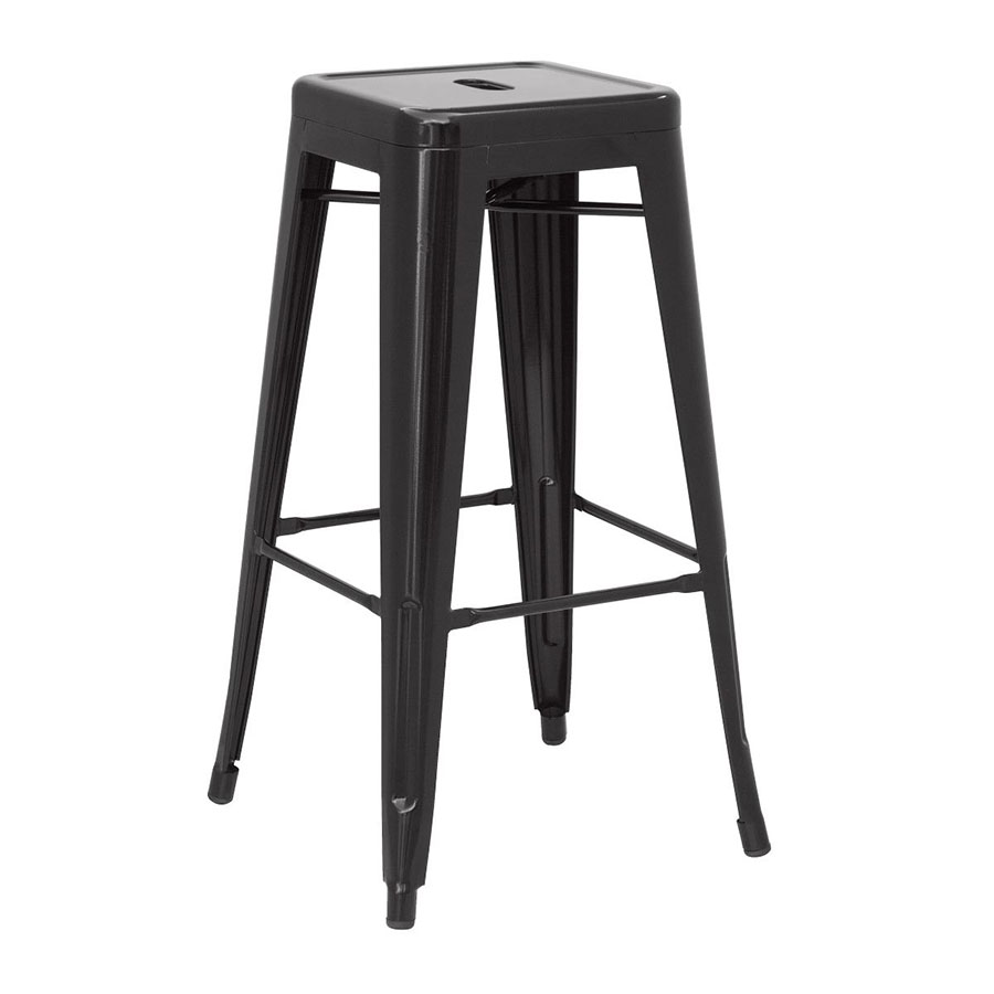 Metro Backless Black Metal Bar Stool