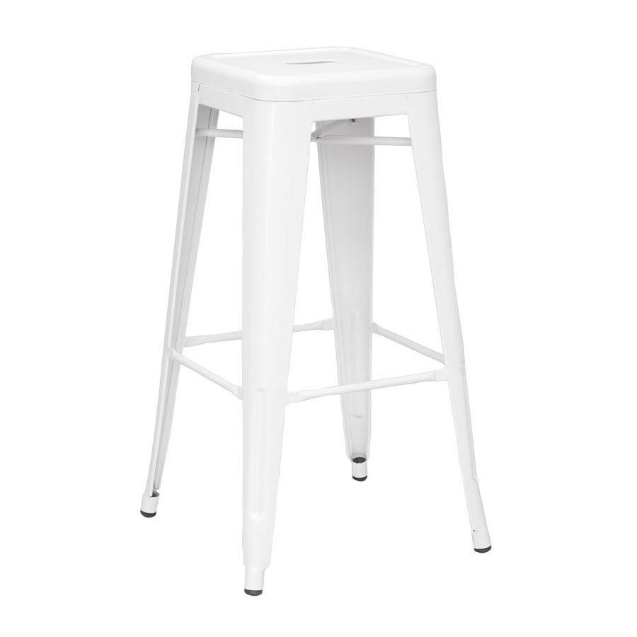 Metro Modern Backless Metal White Bar Stool