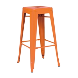 Metro Modern Backless Metal Orange Counter Stool