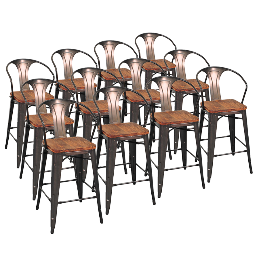 Metro Gun Metal + Wood Contemporary Bar Stool Cheaper by the Dozen