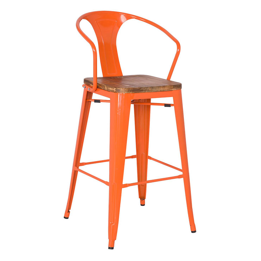 Metro Modern Orange Bar Stool