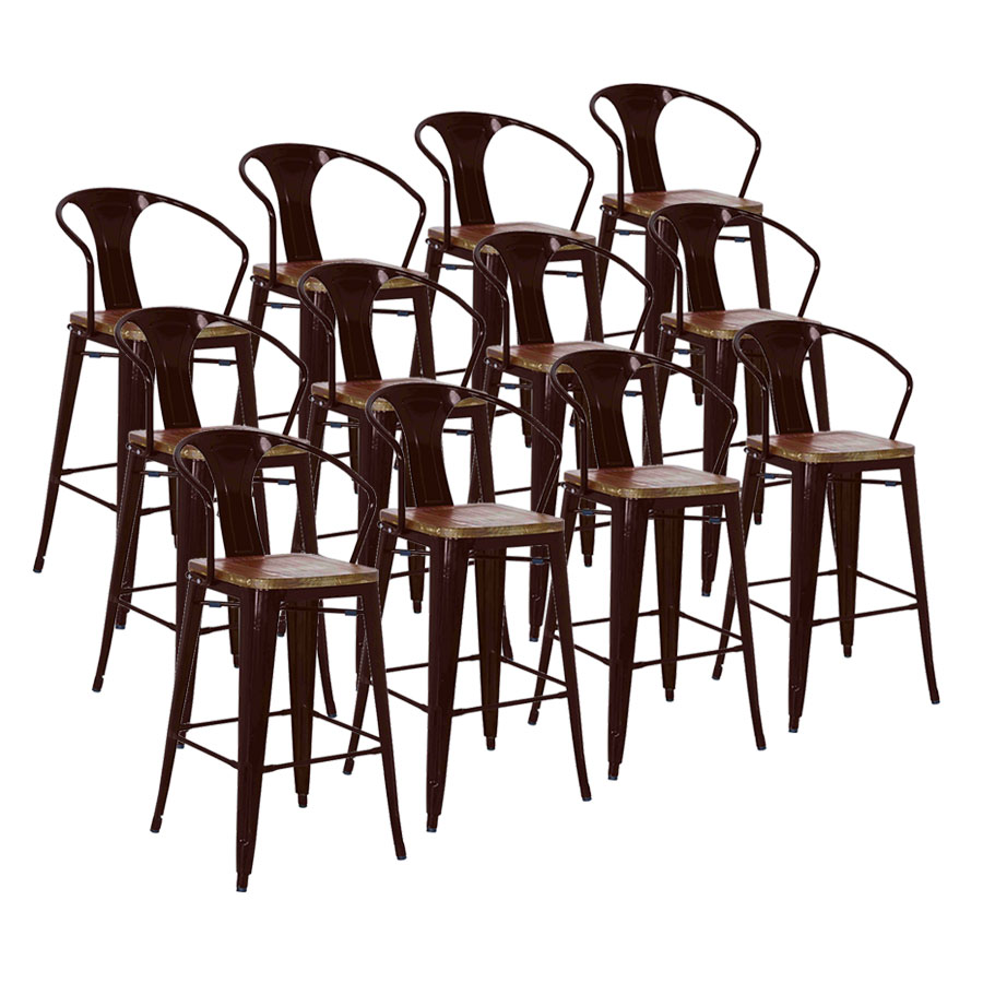 Metro Black Metal + Wood Seat Set of 12 Contemporary Counter Stools