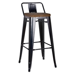 Metro Modern Black Low Back Counter Stool