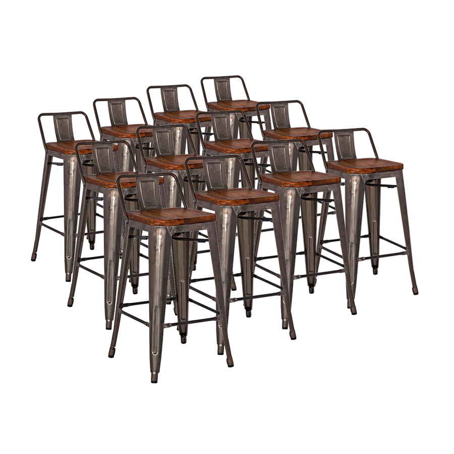 Metro Gun Metal + Wood Contemporary Counter Stool Cheaper by the Dozen