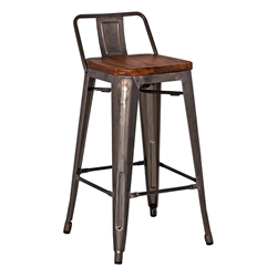 Metro Modern Gun Metal Low Back Counter Stool